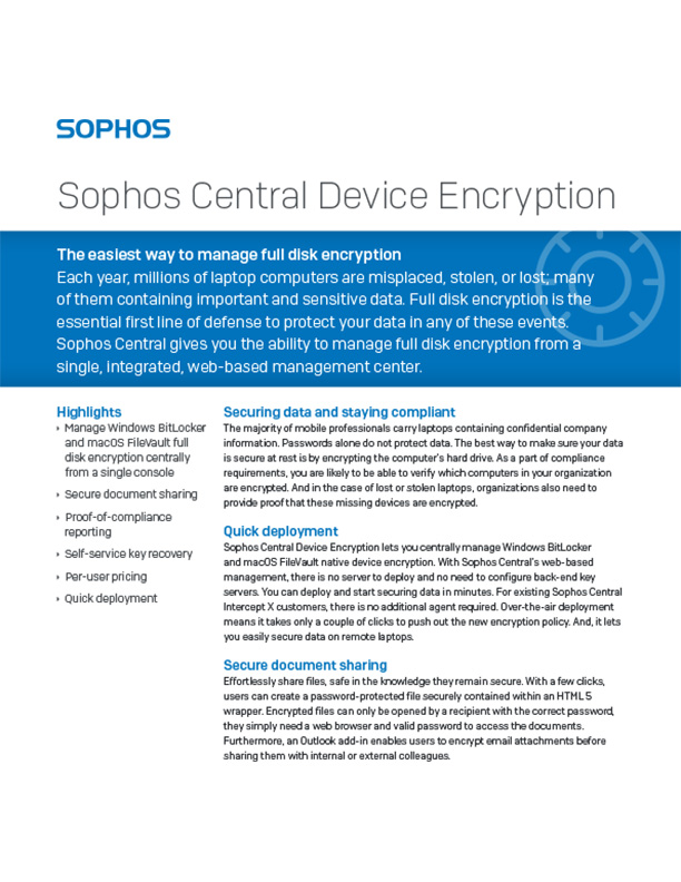 Sophos Central Device Encryption cover