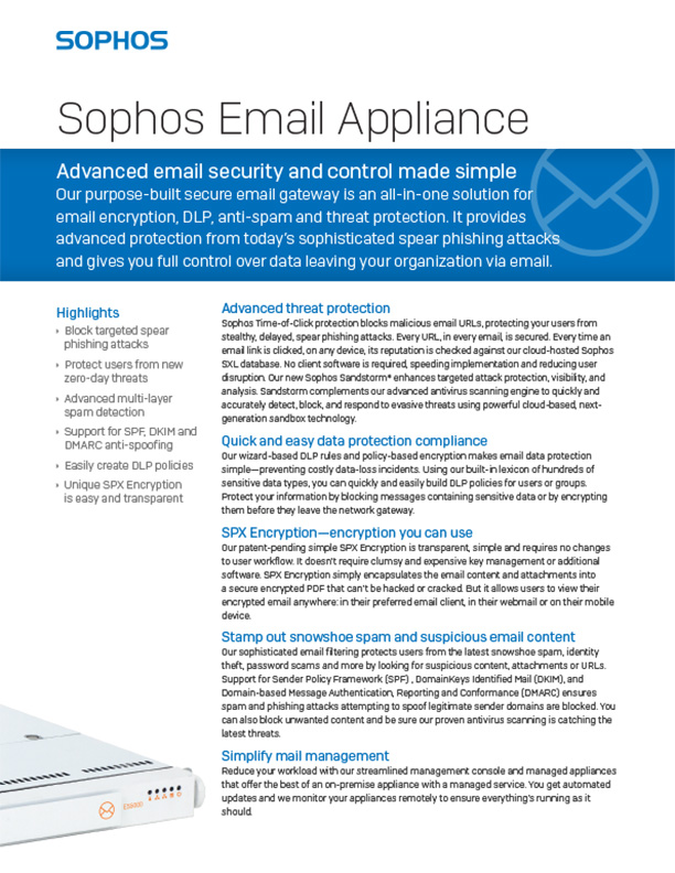 Sophos Email Appliance Brochure Cover