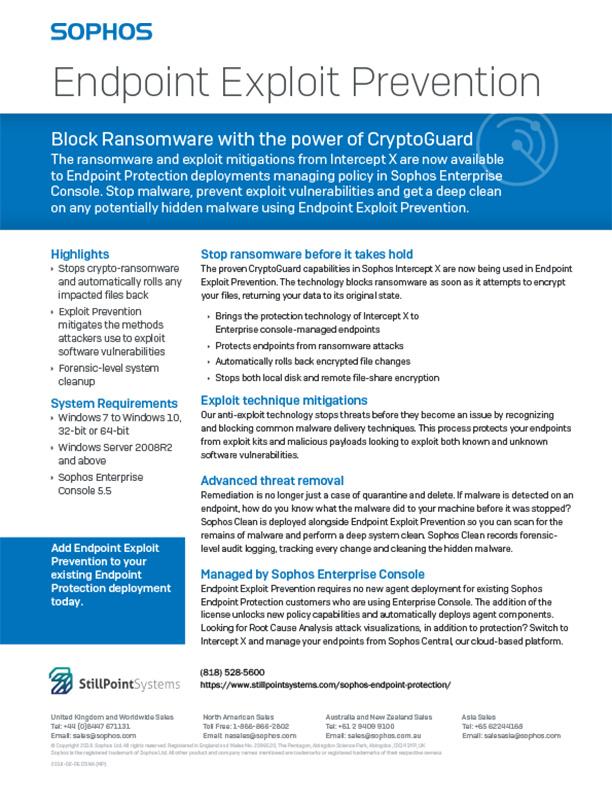 Sophos Endpoint Exploit Prevention Brochure Cover