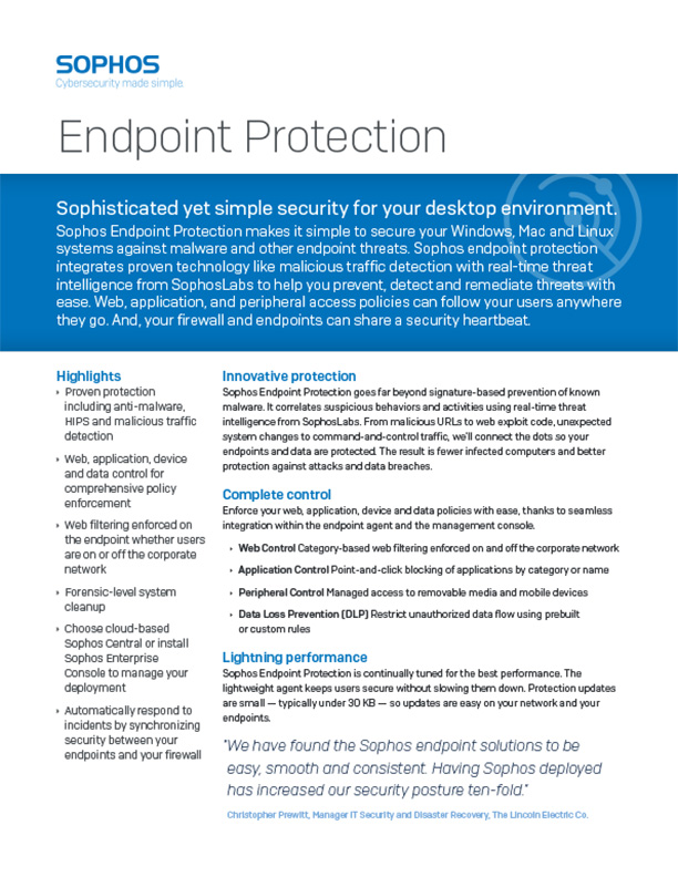 Sophos Endpoint Protection Brochure Cover