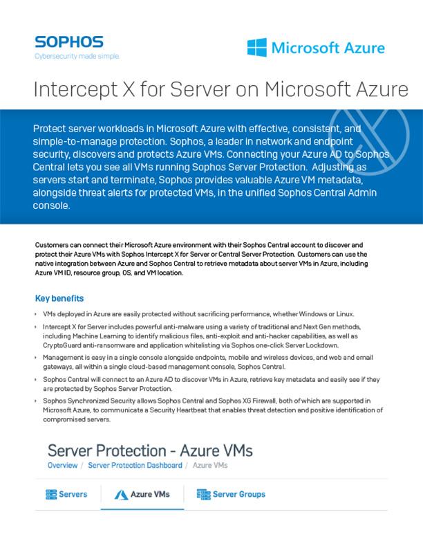 Sophos Intercept X Server Azure Cover
