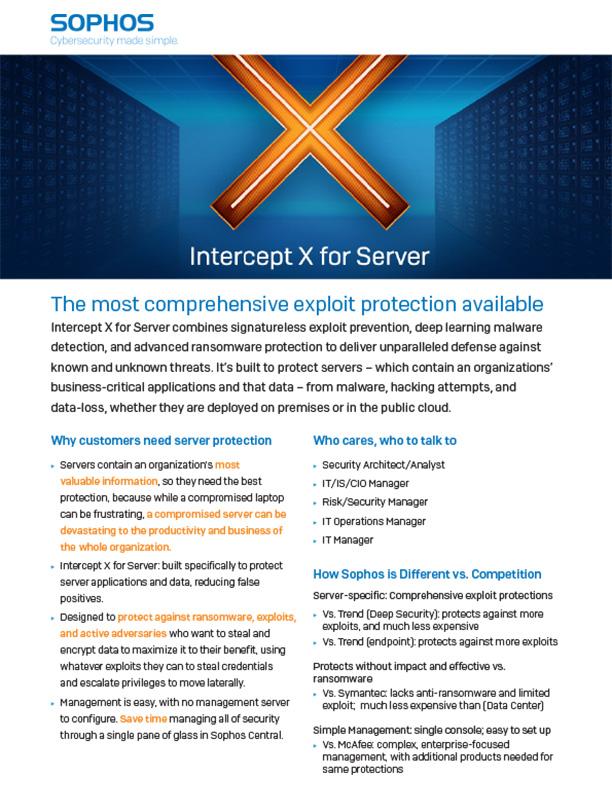 Sophos Intercept X for Server Brochure Cover