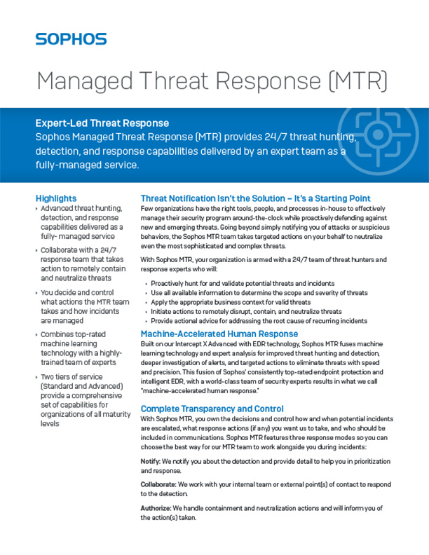 Sophos Managed Threat Response Brochure Cover