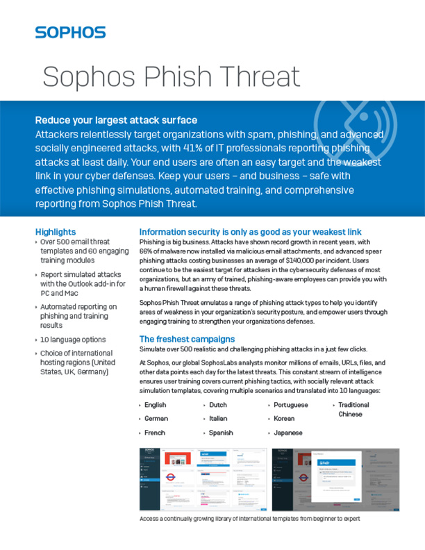 Sophos Phish Threat Brochure Cover