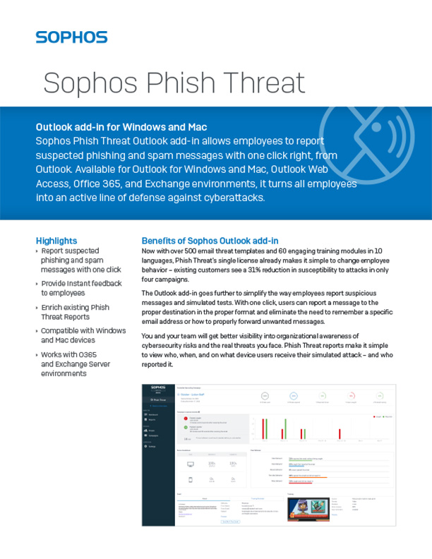 Sophos Phish Threat for Outlook Brochure Cover