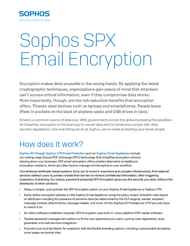 Sophos SPX Email Encryption Brochure Cover