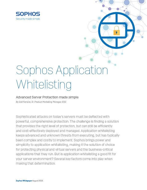 Sophos Server Application Whitelisting Guide Cover
