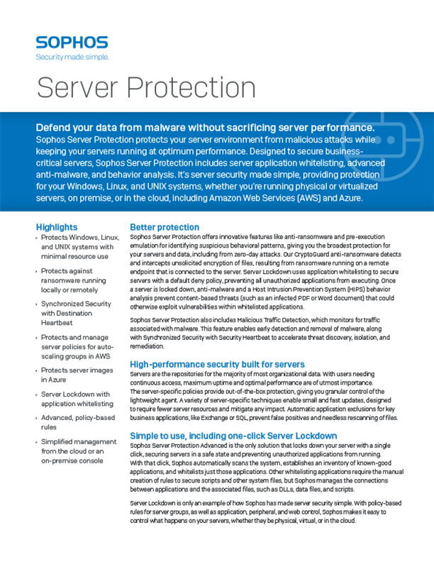 Sophos Server Protection Brochure Cover