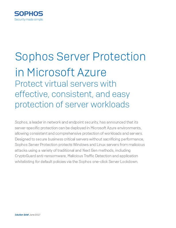 Sophos Server Protection with Azure Cover