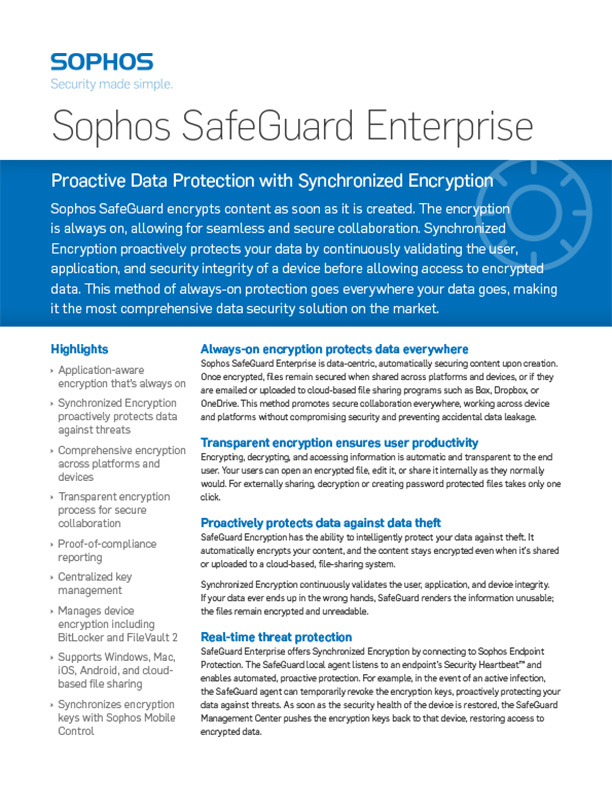 sophos safeguard enterprise brochure cover